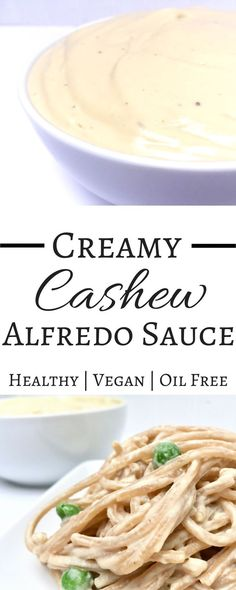A ridiculously delicious and easy recipe for a creamy cashew alfredo sauce. A decadent dairy free recipe. Completely vegan and healthy. Made with cashews! Super simple to make and family friendly. You'll never be able to guess that this doesn't have cream in it! YUM!