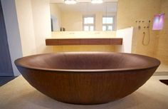 Gorgeous wooden bathtub!! How cool is this?