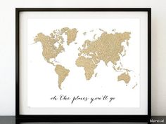 Chic gold world map world map print black and gold home decor custom quote size and color printable world map gold glitter map gold map gold world map gold nursery decor diy 36x24 30x20 map035 gumiabroncs Gallery