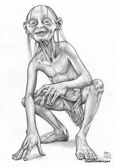 Original Affordable Portrait #Gollum LOTR Art #Drawing Artist SpencerDerryART #FantasyART