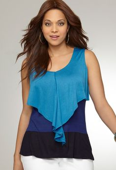Colorblock Ruffle Tank    Was: $48.00  Now: $24.96