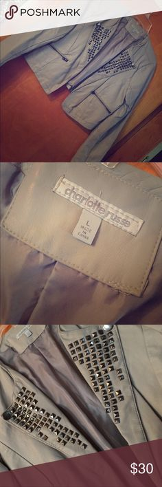 Charlotte Russe Faux Leather motor Jacket! Faux gray leather jacket, studded. Size M, fabulous condition, barely worn! Charlotte Russe Jackets & Coats
