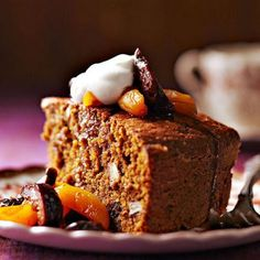 Cornmeal Pumpkin Cake with Dried Fruit Compote: Riesling-poached fruit and billowy whipped cream crown a dense spice cake.    More Thanksgiving desserts: http://www.midwestliving.com/food/holiday/our-best-thanksgiving-desserts/page/3/0
