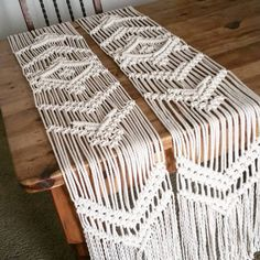 Twinsies! Finally finshed! Can't wait to see pics from the wedding, with 3 Macramania pieces as part of the decor. #wedding #bohemian #bohowedding #macrame #macrametablerunner #weddingtable #modernmacrame #etsy #etsywedding #jungalowwedding #handmade