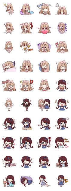 Girls of Lolita fashion such as the doll. The angry and laughing, crying, can be used in various situations stamp of two expressive. Doodles Kawaii, Kawaii Chibi, Cute Doodles, Cute Chibi, Kawaii Cute, Kawaii Girl, Anime Chibi, Kawaii Anime, Kawaii Stickers