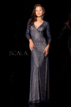 181466927f Scala 48312 is a gorgeous long sleeve beaded dress with a v-neckline and  elegant silhouette