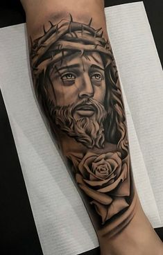 Jesus Forearm Tattoo, Jesus Tattoo Sleeve, Half Sleeve Tattoos Forearm, Realistic Tattoo Sleeve, Skull Sleeve Tattoos, Full Arm Tattoos, Cool Forearm Tattoos, Best Sleeve Tattoos, Dope Tattoos