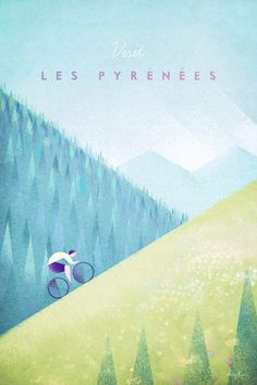 Pyrenees Tour de France Cycling Poster   Art prints available from Travel Poster Co.