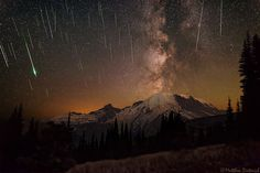 Meteors and Milky Way over Mount Ranier - Kingman Arts - Glass Art and More