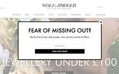 Wolf & Badger | Shop Independent Fashion on our Online Boutique newsletter | email form | email | email marketing | lead generation | email pop up | signup form | e-mail
