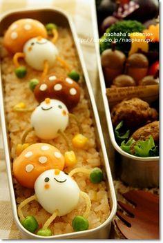 Harlem Shaking Mushrooms Kyaraben Bento by Naohaha (Mashed Potato, Quail Egg, Green Peas, Crispy Fried Noodles)