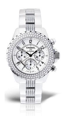ceramic and diamond white chanel watch