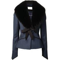 Caroline Constas Fox Fur Lapel Blazer (€1.240) ❤ liked on Polyvore featuring outerwear, jackets, blazers, coats, coats & jackets, blue, fox fur jacket, black jacket, black lapel blazer and one button blazer