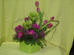 Purple and Green Spring Arrangement