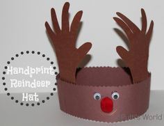 Handprint Reindeer Hat Crown Christmas Kids craft #PuttisWorld
