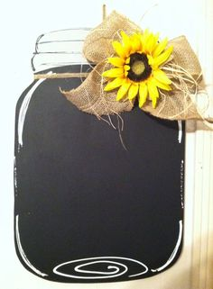Mason Jar Door Hanger with Burlap Bow/Sunflower Chalkboard by CrossHerArt on Etsy. but with a daisy! Burlap Crafts, Burlap Bows, Wooden Crafts, Mason Jar Crafts, Mason Jars, Burlap Door Hangers, Wooden Hangers, Wooden Cutouts, Front Door Decor