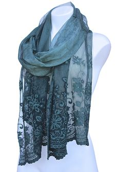 Soft Victorian Styled Silk & Lace Scarf A favorite Terra Nomad Fashion! This striking scarf has a Victorian elegance with its sheer silk panel adorned in Belgium-styled lace. This extra wide panel can