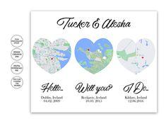 HelloWill YouI Do Custom order printArt | Etsy Map Wall Art, Map Art, Wedding Anniversary Gifts, Wedding Gifts, Valentine Day Gifts, Valentines, Heart Map, Custom Map, Frame It