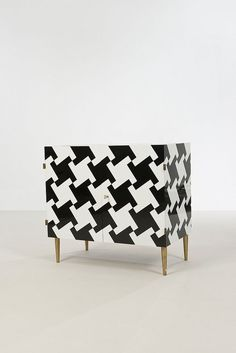 "Roberto Giulio Rida ""Pied de Poule"" (Houndstooth) Buffet. Black & White Opal Glass, Brass. H 81 x L 86 x P 47 cm."