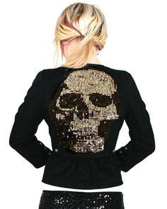 Inked Shop Sequin skull jett blazer by Too Fast