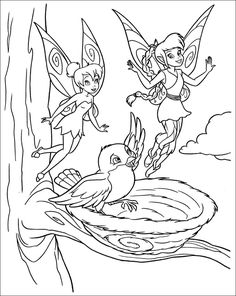 Fawn Teaching Tinkerbell Coloring Page