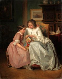 The Embroidery Lesson ~ Jules Trayer (1824 – 1909, French)