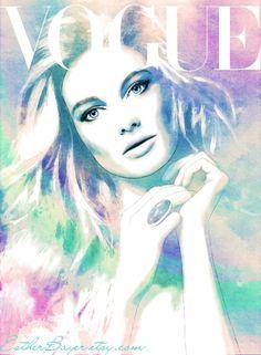 Opal Sunrise - Watercolor Fashion Illustration Print Vogue Beauty Cover. $33.50, via Etsy.