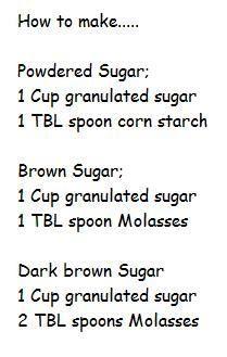 Homemade Powdered Sugar, Light & Dark Brown Sugar (FYI, you can just put granulated sugar in a vitamix or food processor & blend until powdery)