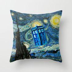 "Tardis doctor who starry night 02 Decorative cushion Pillow Case 20"" | POINTSALESTORE_CustomDesignMaster - Home & Garden on ArtFire Good."