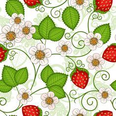 Strawberries seamless pattern vector - Vector Food free download