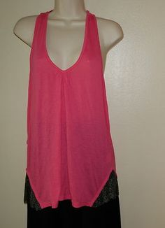NEW Authentic LA ROK Pink Tank Top Shirt Racerback w/ Mesh Chain Size Large
