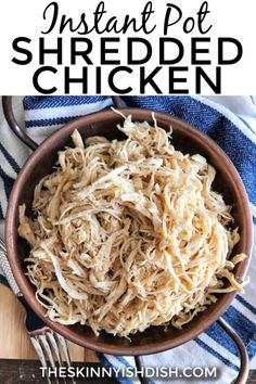 This Instant Pot Shredded Chicken is the BEST. I can barely keep my hands out of. - This Instant Pot Shredded Chicken is the BEST. I can barely keep my hands out of the bowl after it's been shredded. Healthy Chicken Recipes, Cooking Recipes, Vegetable Recipes, Crockpot, Easy Shredded Chicken, Shredded Chicken Pressure Cooker, Instant Pot Dinner Recipes, Pressure Cooker Recipes, The Best