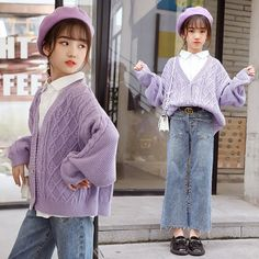Girls Fashion Clothes, Teen Fashion Outfits, Baby Girl Fashion, Kids Fashion, Cute Little Girls Outfits, Kids Outfits Girls, Cheap Sweaters, Girls Sweaters, Purple Tops