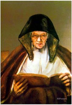 Rembrandt Old Woman Reading Art Print Poster Poster