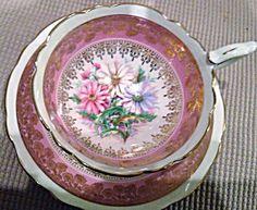 Royal Stafford Fine Bone China Footed Cup & Saucer Set Floral Design