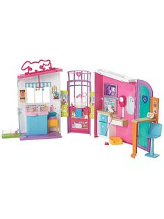 Check out the Barbie Pet Care Center Playset at the official Barbie website. Explore the world of Barbie today! Barbie Doll House, Barbie Toys, Barbie Playsets, Barbie Website, One Story Homes, Play Spaces, Pink Dog, Barbie Furniture, House Furniture