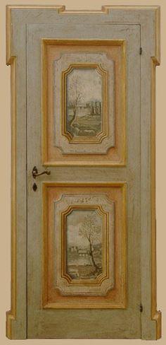 Reproductions of antique italian painted doors - Porte del Passato Hand Painted Furniture, Paint Furniture, Diy Furniture Plans, Furniture Makeover, Italian Doors, Wall Stencil Patterns, Colorful Interior Design, B 13, Antique Paint