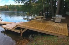 My Boat Plans - Decks, Docks and Gazebos: Building a shoreline deck - Master Boat Builder with 31 Years of Experience Finally Releases Archive Of 518 Illustrated, Step-By-Step Boat Plans Building A Dock, Deck Building Plans, Deck Plans, Boat Plans, Outdoor Stairs, Deck Stairs, Lake Dock, Boat Dock, Docks Lake
