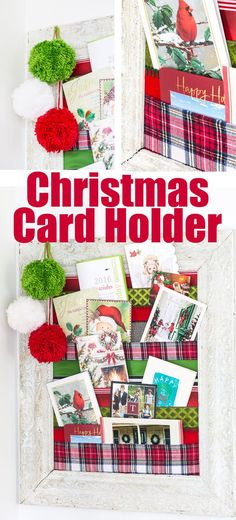 DIY Christmas Card Holder To Display Holiday Cards All Season Long.  Christmas Decorating Ideas And