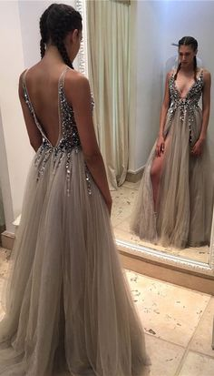 Sexy Deep V Neck Backless Grey Tulle Prom Dresses,Off the Shoulder Open Back Evening Dress Prom Gowns,Beaded Long Women Prom Dress