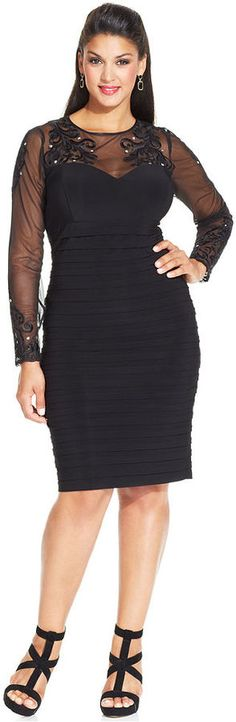 Xscape Plus Size Dress, Short-Split-Sleeve Lace Blouson - Plus ...