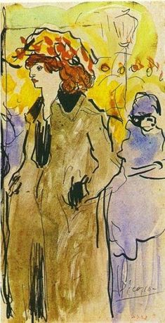 Woman on the street : Pablo Picasso : Art Nouveau (Modern) : genre painting - Oil Painting Reproductions Pablo Picasso, Picasso Art, Picasso Paintings, Picasso Images, Paul Gauguin, Cubist Movement, Georges Braque, Prado, Famous Artists