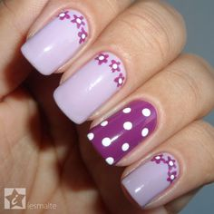 Unhas decoradas - flores e póas em lilás e roxo diseños de uñas flores, uña Cat Nail Art, Pink Nail Art, Flower Nail Art, Purple Nails, Fingernail Designs, Nail Polish Designs, Nail Art Designs, Diy Nails, Cute Nails