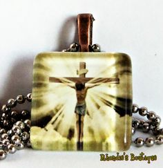 My Savior Glass Tile Pendant by rhondiesboutique on Etsy, $6.00