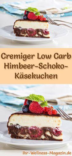 Rezept für Low Carb Himbeer-Schoko-Käsekuchen: Der kohlenhydratarme, kalorienreduzierte Kuchen wird ohne Zucker und Getreidemehl zubereitet ... #lowcarb #kuchen #backen