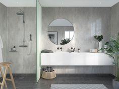 Våtrumsskiva Fibo Cracked Cement S 432204631 Bathroom Wall Panels, Shower Wall Panels, Laminate Wall Panels, Neo Angle Shower, Contemporary Tile, Cladding Panels, White Shower, Upstairs Bathrooms, White Tiles