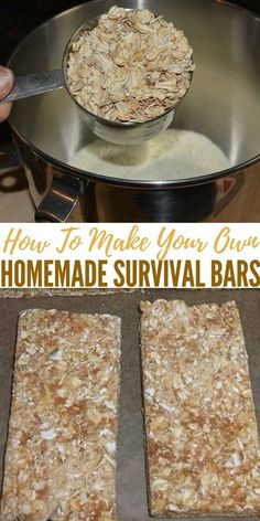 How To Make Your Own Homemade Survival Bars. This bread will keep indefinitely and each loaf is the daily nutrients for one adult (approx 2000 calories) *** Continue with the details at the image link. Emergency Preparation, Emergency Food, Survival Food, Outdoor Survival, Survival Prepping, Survival Skills, Emergency Preparedness, Survival Weapons, Apocalypse Survival