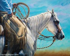 Shannon Lawlor's art career requires travel within Canada and the United States. She resides in the province of Alberta where bridle horse culture is strong and has long been the focus of Shannon's art. Dedicated to acrylics she devotes weeks at a time researching her subject matter and painting in her studio.