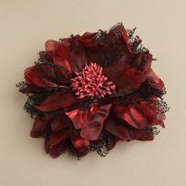 Shimmering Garnet Red Hair Flower // by #Mariell // #fashion #accessory #bride #wedding #bridesmaid #prom