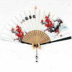 oriental fan chinese fan Hand made Silk Hand Fan Plum by Bloobling, $25.00